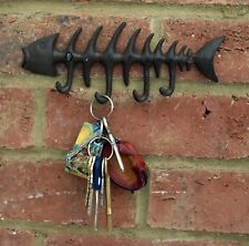 Fish FishBone Cast Iron Wall 4 Hook Coat Key Rack Metal Shabby Chic 20 cm New