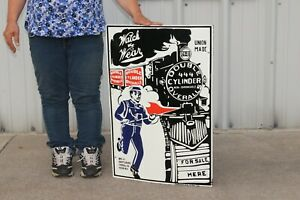 """Large Double Cylinder Overalls Railroad Clothes Gas Oil 30"""" Porcelain Metal Sign"""