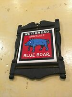 Vintage Apco Made In Japan Black Metal Trivet Whit Bread Stout And Ale Blue Boar