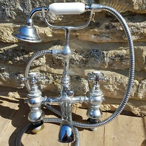 Vintage Bath Taps Shower Mixer Chrome Retro Sink Tap Pair Hot Cold Brass?