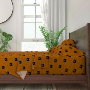 Geometric Bears Bear Rusty Red Animal 100% Cotton Sateen Sheet Set by Roostery