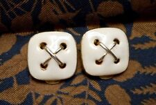 Signed Kenneth Lane Cream Enameled Gold Tone Square Button Motif Clip Earrnings