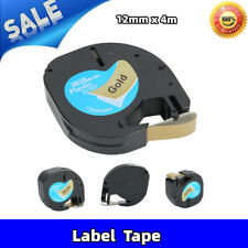 Compatible With Dymo Letratag Refill Blackongold Plastic 12mm X 4m Label Tape