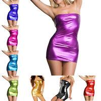 Women Sexy Bodycon Metallic PVC Wet Look Tube Mini Dress Shiny Party Clubwear