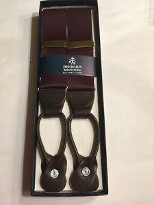 NIB Brooks Brothers Maroon Suspenders Leather Button, Material (not Elastic)
