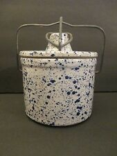 Vintage Blue & White Pottery Speckled Cheese Butter Crock with Bale Clasp