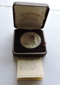 Dr William Hunter 1718-1783 Bicentenary Silver Commemorative Medal Cased W/COA