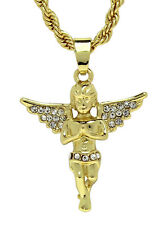 "14k Gold Plated Angel Pendant Iced Out Cz 24"" Rope Chain Hip Hop Necklace"