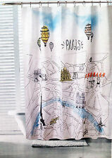 NEW PARIS SHOWER CURTAIN STREET MAP EIFFEL TOWER FRANCE AIR BALLOON FABRIC 70x72