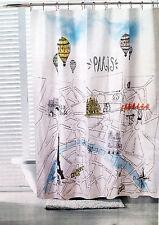 NEW PARIS SHOWER CURTAIN STREET MAP EIFFEL TOWER FRANCE AIR BALLOON FABRIC 70x72