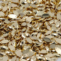 50 x metallic gold sew On 7x15mm Jewel acrylic GEM CRYSTAL RHINESTONE trim Bead