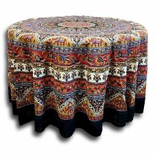 Handmade 100% Cotton Mandala Floral Elephant Tablecloth 90 Inch Round
