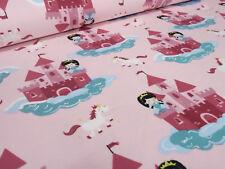 Stoff Baumwolle Jersey Einhorn Schloss Prinzessin rosa bunt Kinderstoffe