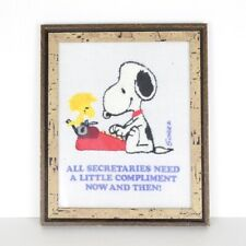 Snoopy and Woodstock Schulz 1978 Hand Stitched Framed Picture For Secretary