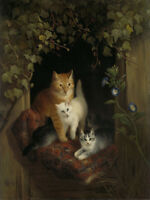 "perfect 24x36 oil painting handpainted on canvas""Cat with Kittens"" @NO10615"