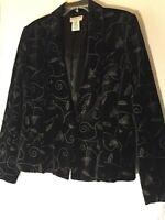 Covington Womans 18 Black Embroidered Velvet One Button Blazer Dressy Jacket