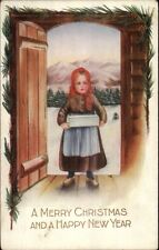 WHITNEY Little Girl in Doorway c1910 Christmas Postcard rpx