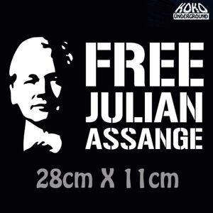 Free Julian Assange Wikileaks Political Vinyl Decal Sticker Car 4X4 Ute 28cm