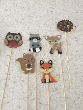 6 Painted Wooden Woodland  Baby ShowerForest Animals Diaper Cupcake Toppers