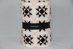 Calvin Klein Abigail 100% Cotton Geometric Quilt Queen Bedding Black, White,Pink