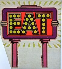 Original Vintage Eat Iron On Transfer Dayglo
