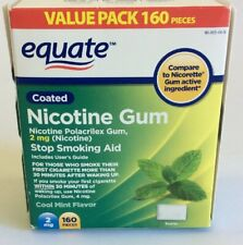 Equate Nicotine Gum 2 Mg Value Pack 160 Pieces Coated Exp 4/21 New Sealed