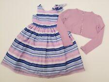 Janie and Jack 12 Girls Spring Gazebo Lavender Cardigan Sweater Stripe Dress Kk1