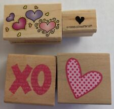 VALENTINE'S Mounted Rubber Stamps Lot of 4 Hero Arts Stampin UP!