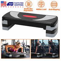 "32"" Fitness Aerobic Step Club Cardio Adjust Exercise Stepper w/Risers 4''/6""/8''"