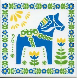 Ceramic Cork Backed Tile Trivet Hot Pad - Sweden Swedish Blue Dala Horse