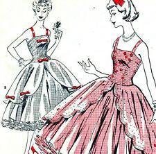"RARE Vintage 50s DRESS Sewing Pattern UNUSED Bust 38"" Sz 14 RETRO Evening PROM"