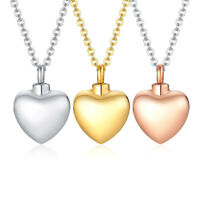 Heart Urn Pendant Necklace Cremation Keepsake For Ashes Memorial Jewelry Gift