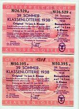Nazi Germany Klassenlotterie Post-Anschluss Austria Ostmark 1938 Wien 2 Tickets