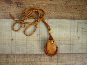 """Native American Deerskin Medicine Bag  Leather Necklace Pouch  2"""" X 1.5"""""""