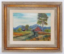 Oil Painting New England Red House by Anne Gress Phillips Gilt Wood Frame Mexico