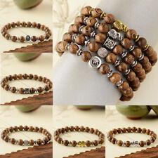 Natural Wood Beads Beaded Lava Stone Charm Mens Women Bracelets Fashion Jewelry