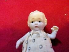 """Bisque 4"""" Japan Jointed Arms Molded Body 1920s Frozen Charlotte Original Dress"""