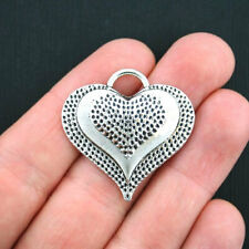 2 Large Heart Charms Antique Silver Tone - SC574