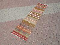"Vintage Anatolian Kilim Runner Carpet Runner Corridor Long Rug 23""X100"" Hallway"