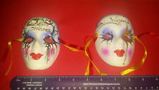 2 Ceramic Hand Painted Mardi Gras Faces - Wall Home Decor