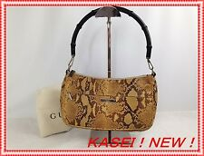 Auth Gucci Paison Snake Skin Leather Hand Bag Brown Vintage 5l390550s
