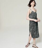 """ANN TAYLOR LOFT"" CHARCOAL FLORAL SUMMER MIDI DRESS SIZE: S NWT"