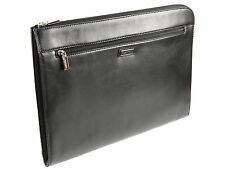 Visconti Leather Under-arm Meeting Folio A4 Document Holder Folder Case - Black
