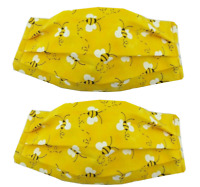 Bumble-Bee Black Yellow Print Whimsical Face-mask SET OF 2