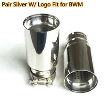 Pair Silver Exhaust End Tip Tail Pipe Muffler W/ M Logo Fit For BWM 2.5''-3.15''