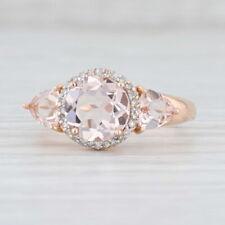 2.11ctw Peach Morganite Diamond Halo Ring 14k Rose Gold Size 8 Round Engagement