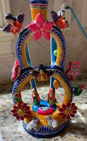 "VINTAGE MEXICAN FOLK ART POTTERY ""TREE OF LIFE""  CANDELABRA  SIGNED"