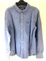 SUPERDRY Mens Shirt M Medium Blue Cotton