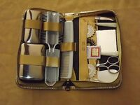 VINTAGE GROUND LEATHER WESTERN GERMANY MANICURE SEWING COMB + TRAVEL KIT UNUSED