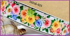 1 metre, COLOURED ROSES, 25mm, Ribbon, 1 inch, Flowers, Grosgrain, Sewing
